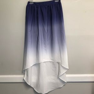 Mossimo small purple and white high low skirt